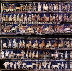 Mesopotamia-Sumer bce -in Ur tombs, tells the story of War (king inspecting slaves) and Peace (feast with king on the throne) - inlay with lapis lazuli and shell on limestone - c: register, kings is taller than the others, twisted perspective, Ancient Aliens, Ancient Egypt, Ancient History, Art History, Ancient Mesopotamia, Ancient Civilizations, Lapis Lazuli, Epic Of Gilgamesh, Empire Romain