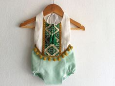 Mint Green Baby Girl Romper/ Linen Boho Chic Sunsuit/ Baby Clothes/ Pom Pom/ Photo Props/ Size: NB,0-3,3-6,6-12,12-18,18-24 mths, 2-6 years by VivaBohoKids on Etsy https://www.etsy.com/listing/234636916/mint-green-baby-girl-romper-linen-boho
