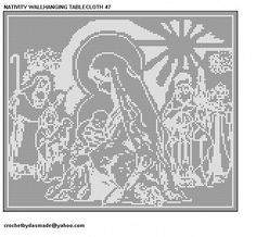 Nativity Christmas Wallhanging Filet Crochet Pattern 47