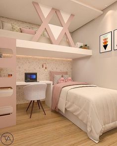 20 ideas for girl's room 27 Girl Bedroom Designs me . ideas - creative ideas - 20 ideas for girl& room 27 Girl Bedroom Designs me … ideas – creative ideas - Cute Bedroom Ideas, Girl Bedroom Designs, Bedroom Inspiration, Small Apartment Bedrooms, Small Apartments, Small Spaces, Teen Room Decor, Room Decor Bedroom, Cozy Bedroom