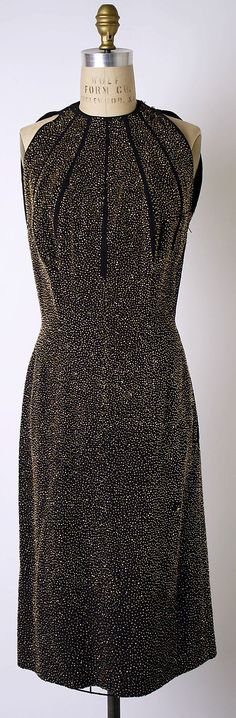 """Wool evening dress with glass beads, by Pauline Trigère, American, 1953. Labels: """"Pauline Trigère"""" """"1953/Trigère Museum Collection/MU 29"""""""