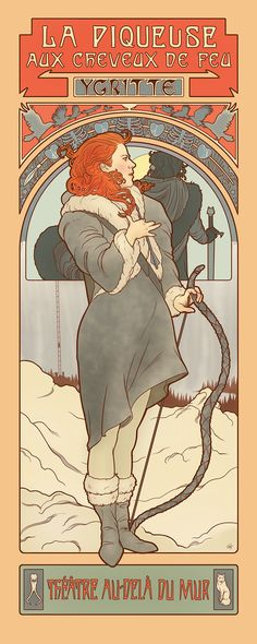 Game of Thrones. Ygritte, Elin Jonsson's Game of Thrones art nouveau illustrations in the style of Alphonse Mucha