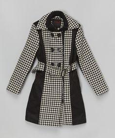 Black & White Houndstooth Trench Coat