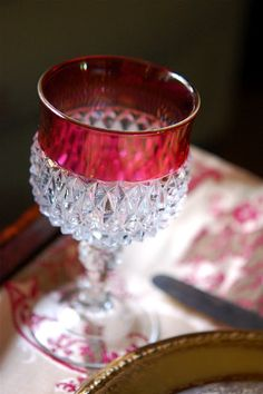Cut glass cranberry