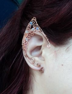 Elf ear cuff copper Elven ears wire wrapped earcuff in copper and clear crystals cosplay fantasy Fairy LOTR cosplay props (25.00 EUR) by AlcazarDesigns