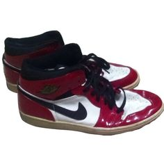 9f02cbf8503d Pre-owned Nike Air Jordan 1 Paten Leather Red  black Athletic Shoes ( 215