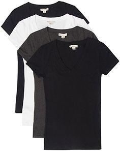 1a8d45c3c6f9 TL Women's Comfy Basic Cotton Short Sleeves Solid V-neck T-shirts Pack-bk /  Bk / Wht / Char,Medium: