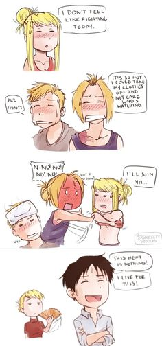 This heat is nothing! Haha Roy Mustang, Ed and Al Elric, Riza Hawkeye, Winry Rockbell, FMA