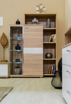 Bling - modern nappali világos sonoma tölgy - fényes fehér színben. Bookcase, Bling, Shelves, Home Decor, Jewel, Shelving, Decoration Home, Room Decor, Book Shelves