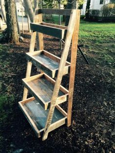 From the Blue Barn Collection. A reclaimed barn wood ladder shelf made from 115 year old yellow pine. Taken from the last standing barn in the city of Wood Ladder Shelf, Old Wood Ladder, Plant Ladder, Ladder Decor, Wooden Ladders, Ladder Storage, Hanging Plant, Diy Pallet Projects, Outdoor Projects