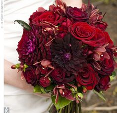 """""""Velvety shades of red and purple made up Brooke's romantic bouquet of roses, dahlias and orchids. A blue ribbon tied the blooms together at the stems."""""""