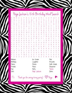 Zebra Print with Hot Pink Birthday Party (Girl) Personalized Word Search - 2 designs. $4.00, via Etsy.