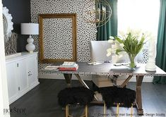 Go wild with our Cheetah Spots stencil for stenciling walls, floors, and curtains. Go for modern day drama with a classic animal print pattern. Home Office Space, Home Office Design, Home Office Decor, Home Decor, Office Ideas, Office Inspo, Office Style, Office Furniture, Leopard Print Chair