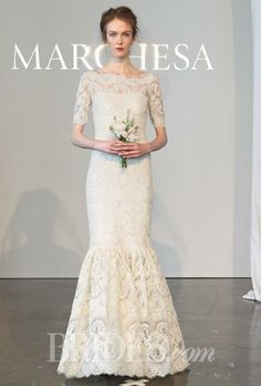 Fully embroidered corded lace mermaid wedding dress with a bateau neckline and elbow-length sleeves, Marchesa