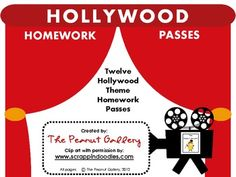 Hooray for Hollywood...and homework passes! Your students will feel like stars with these passes or coupons which enable them to skip a homework as...