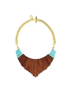 Jenny Bird - this bib necklace is beautiful. Modern, sleek and rich in color. wood & turquoise : available at magnolia Pocahontas Necklace, Jewelry Box, Jewelry Accessories, Jewellery, Pink Mascara, Maila, Fashion Jewelry, Women's Fashion, Bling