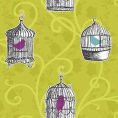 Carta da Parati Arthouse Opera - Verde Lime - Allodola - Traccia Gabbia Uccello ebay decorsupplies