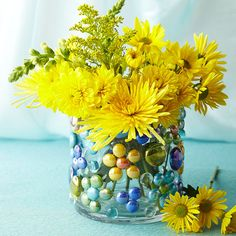 Glass Gem Embellished Vase.  Bright and cheerful for summer flowers!