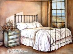 Art by Stella Bruwer Stella Art, Storybook Cottage, Cozy Place, Bedroom Art, Fabric Painting, Love Art, Vintage Art, Home Furniture, Arts And Crafts