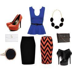 """Blue black orange"" by tara2481 on Polyvore"