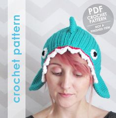Make a funny shark headband with this crochet pattern! It has ties, so itll fit anyone. It might be a bit large for small kids though, so I included suggestions on how to shorten it.  >> READ THIS FIRST! ATTENTION!! THIS IS A CROCHET PATTERN, NOT A FINISHED ITEM <<  This is a crochet