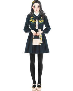 #한복#그림#일러스트#drawing#fashion#illustration#イラスト French Fashion, Fashion Art, Girl Fashion, Womens Fashion, Fashion Design, Korean Traditional Dress, Traditional Dresses, Korean Dress, Korean Outfits