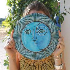 sol y luna arte de pared de cerámica azulejos de cerámica