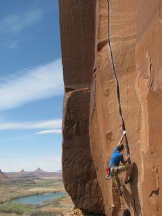 Climber on Scarface Wall - Indian Creek, Moab Area, Utah