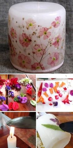 Easy To Make Decorated Candles..... just use a hot spoon too melt the wax a little and push in the flowers and leaves