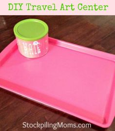 We love this DIY Travel Art Center - it is perfect for Road Trips!  So easy to make with a cookie sheet!