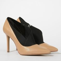 CHARLES & KEITH Duo-Tone Pointed Heels (145 SAR) ❤ liked on Polyvore featuring shoes, pumps, nude, pointy shoes, pointed pumps, high heel shoes, pointy nude shoes and real leather shoes