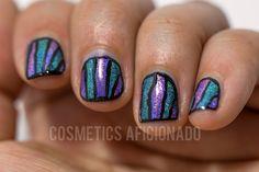teal, purple, holographic, nail art, nail art for nubs, nail art on short nails, via @CosmeticsAficionado