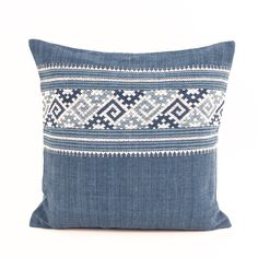 * FINAL SALE - This item is final sale and may not be returned or exchanged. Organic cotton throw pillows with blue and white embroidery and solid pale blue back. Layer the different styles on a bed o Bed Covers, Cushion Covers, Persian Decor, Pillow Crafts, Blue Back, White Embroidery, Textile Design, Decorative Pillows, Indigo