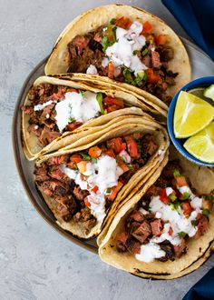 Carne Asada steak tacos are loaded with juicy grilled steak packed into warm tortillas and topped with tangy fresh tomato salsa and topped w. Steak Tacos, Carne Asada Steak, Authentic Mexican Recipes, Keto Recipes, Cooking Recipes, Dinner Recipes, Cooking Ideas, Cooking Chef, Dinner Ideas