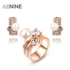AENINE New arrival ring+earring Austrian crystal imitation pearl set fashion jewelry For Women To Best Friend L20701521120