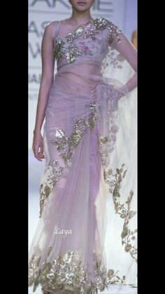 Mauve net saree with delicate silver work Indian Dresses, Indian Outfits, Indian Attire, Indian Clothes, Indian Designer Outfits, Designer Dresses, Beautiful Saree, Beautiful Outfits, Bridesmaid Saree