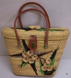 vintage 1960's Straw Purse with Yarn and Straw Flowers Tote
