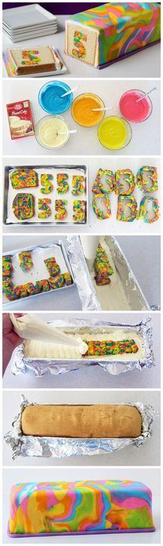 This is just so pretty! DIY Rainbow Tie Dye Surprise Cake Tutorial   Que bonito! Como hacer un pastel de arco iris con sorpresa dentro
