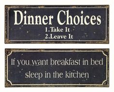 Imax Worldwide Home Whimsical Breakfast and Dinner Signs - Set of 2 | ShopLadder