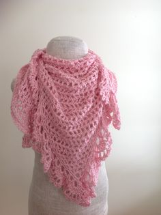 Pink Lacy Triangular Shawl By Alyssa Titus - Free Crochet Pattern - (ravelry)
