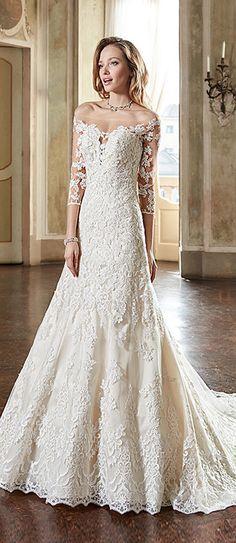 Lavish Tulle & Satin Off-the-shoulder Neckline A-Line Wedding Dresses With Lace Appliques