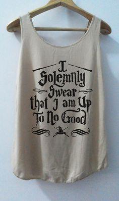 Harly Pot I Solemnly Swear that I am Up To No Good Tshirt Pop Punk Rock Tank Top Vest Women T shirt T-Shirt SizeS,M,L