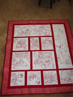 """I made this quilt for my granddaughter.  It's called """"Hazelnut Hall.""""  The quilt was a block of the month and the redwork is done by hand.  Each block comes with a chapter for a book that can be put together when finished."""