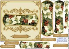 Christmas Roses Holly Panoramic Frame Pyramage on Craftsuprint designed by Sandie Burchell - Beautiful 6.5 inch Square Card with panoramic shaped pyramage with ornate frame. Sentiment Panels include: Happy Christmas, Merry Christmas, Season's Greetings, Happy Holidays or Blank for your own peel-off lettering or stamp. There is also a Matching Insert for this design please see related sheets. To see more of these designs type panoramic into my search box. Please take a look at my other ...
