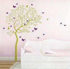 Spectacular Wandtattoo Baum V gel Schmetterlinge Kolibri M