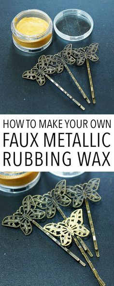 How To Make Faux Metallic Rubbing Wax! - Fun Graphics - Ideas of Fun Graphics - How To Make Faux Metallic Rubbing Wax! The Graphics Fairy Diy Locker, Diy Wood Wall, Make Your Own, Make It Yourself, Diy Blanket Ladder, How To Make Labels, Homemade Art, Martha Stewart Crafts, Diy Headboards