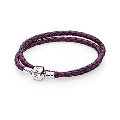 Moments Double Woven Leather Bracelet - Purple [590705CPE-D] - £17.00 :