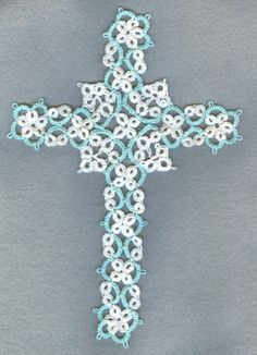 Large Shuttle Tatted lace cross by donatajones on Etsy, $12.00