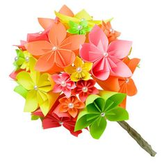 Real blooms may not come in these fluorescent colors, but paper ones do.    Origami paper flower bouquet, $15 for 10 stems, Folded Paper Flowers.