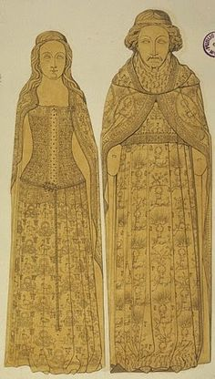 The effigies of Richard II (d.1400) and his queen Anne of Bohemia (d.1394) continue in similar royal tradition: grand tomb arrangements, expensive gilt bronze effigies which appear to have elements of portraiture about them, heraldic type symbolism engraved all over their clothing.